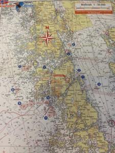 Die Gewässerkarte mit eingezeichneten Fangplätzen!