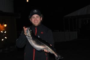 Auf dem Rückweg konnte Sören noch enen 3,5 kg Seelachs erwischen